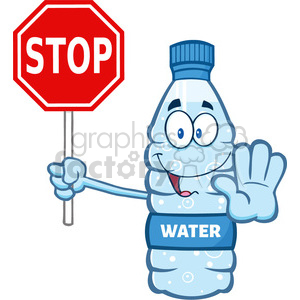 illustration cartoon ilustation of a water plastic bottle mascot character gesturing and holding a stop sign vector illustration isolated on white background clipart. Royalty-free image # 399395