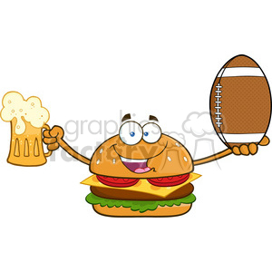 illustration happy burger cartoon mascot character holding a beer and american football ball vector illustration isolated on white background clipart. Royalty-free image # 399425