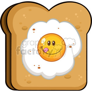 illustration toast bread slice with smiling egg cartoon character vector illustration isolated on white background clipart. Royalty-free image # 399466