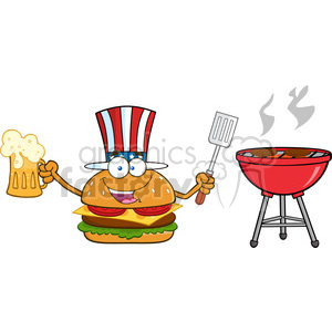 illustration american burger cartoon mascot character holding a beer and bbq slotted spatula by a grill vector illustration isolated on white background clipart. Royalty-free image # 399496