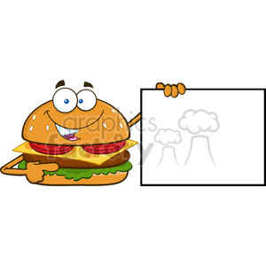 illustration funny burger cartoon mascot character pointing to a blank sign banner vector illustration isolated on white background clipart. Commercial use image # 399506