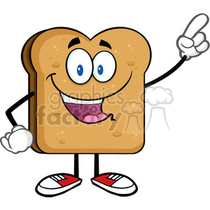 illustration happy toast bread slice cartoon character pointing vector illustration isolated on white background clipart. Commercial use image # 399516