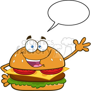 illustration happy burger cartoon mascot character waving for greeting with speech bubble vector illustration isolated on white background clipart. Royalty-free image # 399536