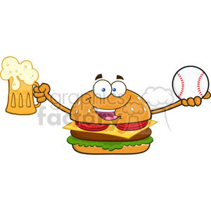 illustration happy burger cartoon mascot character holding a beer and baseball ball vector illustration isolated on white background clipart. Royalty-free image # 399546