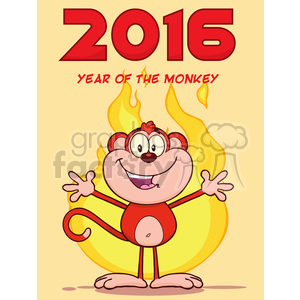 royalty free rf clipart illustration happy red monkey cartoon character welcoming over flames vector illustration new year greeting card
