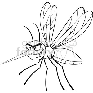 royalty free rf clipart illustration black and white mosquito cartoon character flying vector illustration isolated on white clipart. Royalty-free image # 399601