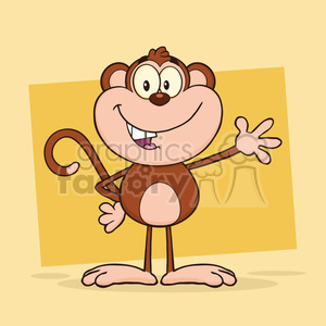 royalty free rf clipart illustration cute monkey cartoon character waving for greeting vector illustration with background clipart. Royalty-free image # 399611