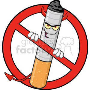 royalty free rf clipart illustration devil cigarette cartoon mascot character in a prohibited symbol vector illustration isolated on white background clipart. Commercial use image # 399641