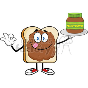 royalty free rf clipart illustration bread slice cartoon character with peanut butter holding a jar of peanut butter vector illustration isolated on white background clipart. Royalty-free image # 399651
