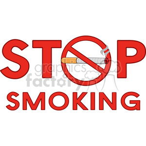 royalty free rf clipart illustration stop smoking sign with cigarette and text vector illustration isolated on white background clipart. Royalty-free image # 399661