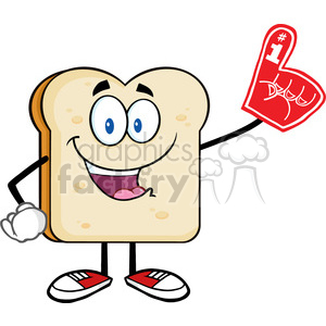 royalty free rf clipart illustration happy bread slice cartoon mascot character wearing a foam finger vector illustration isolated on white clipart. Commercial use image # 399679
