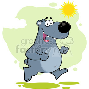 royalty free rf clipart illustration smiling gray bear cartoon character running vector illustration with background isolated on white clipart. Royalty-free image # 399689