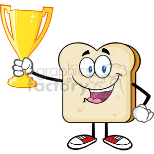 fitness health healthy exercise cartoon character bread food toast breakfast trophy