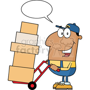 delivery man cartoon character using a dolly to move boxes with speech bubble vector illustration with isolated on white clipart. Commercial use image # 399709