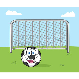 smiling soccer ball cartoon mascot character with football gate vector illustration with background clipart. Royalty-free image # 399719