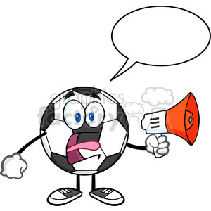 soccer ball cartoon mascot character an announcement into a megaphone with speech bubble vector illustration isolated on white background clipart. Royalty-free image # 399729