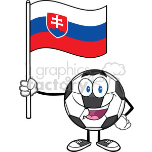 happy soccer ball cartoon mascot character holding a flag of slovakia vector illustration isolated on white background clipart. Royalty-free image # 399749