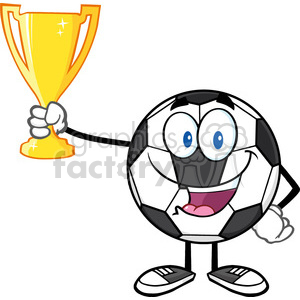 happy soccer ball cartoon character holding a golden trophy cup vector illustration isolated on white background clipart. Royalty-free image # 399759