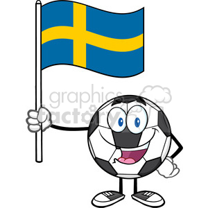 happy soccer ball cartoon mascot character holding a flag of sweden vector illustration isolated on white background clipart. Royalty-free image # 399769