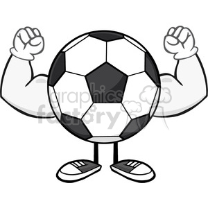 soccer ball faceless cartoon mascot character flexing vector illustration isolated on white background clipart. Royalty-free image # 399779