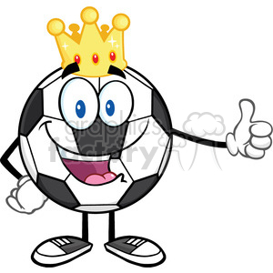 king soccer ball cartoon mascot character with golden crown giving a thumb up vector illustration isolated on white background