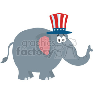 republican elephant cartoon character with uncle sam hat vector illustration flat design style isolated on white clipart. Royalty-free image # 399799