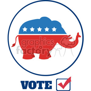 9334 funny republican elephant cartoon character circale label vector illustration flat design style isolated on white clipart. Royalty-free image # 399809