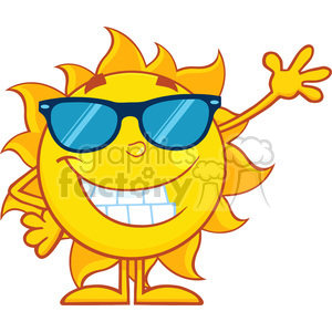 10109 smiling sun cartoon mascot character with sunglasses waving for greeting vector illustration isolated on white background clipart. Royalty-free image # 399880