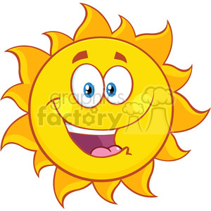 happy sun cartoon mascot character vector illustration isolated on white background clipart. Royalty-free image # 399890