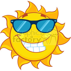 smiling summer sun cartoon mascot character with sunglasses vector illustration isolated on white background clipart. Royalty-free image # 399900