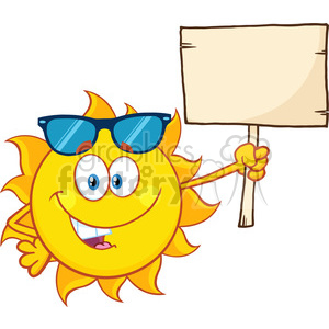summer sun cartoon mascot character with sunglasses holding a wooden blank sign vector illustration isolated on white background clipart. Royalty-free image # 399920