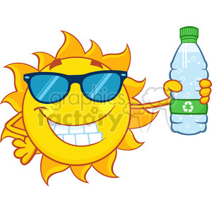 cute sun cartoon mascot character with sunglasses holding a water bottle with recyle sign vector illustration isolated on white background clipart. Commercial use image # 399930