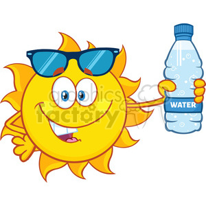 cute sun cartoon mascot character with sunglasses holding a water bottle with text vector illustration isolated on white background