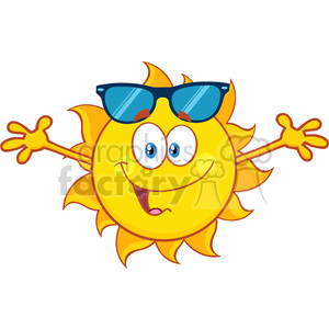 smiling loving sun cartoon mascot character with sunglasses and open arms for hugging vector illustration isolated on white background