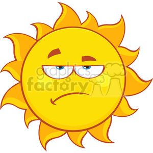 grumpy sun cartoon mascot character vector illustration isolated on white background clipart. Royalty-free image # 399960