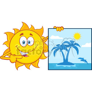 talking sun cartoon mascot character pointing to a poster sign with tropical island vector illustration isolated on white background clipart. Royalty-free image # 399970