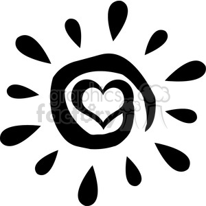 black abstract sun silhouette with heart simple design vector illustration isolated on white background clipart. Royalty-free icon # 399980