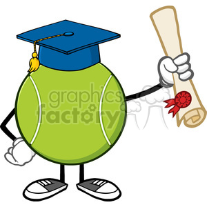tennis ball faceless cartoon mascot character with graduate cap holding a diploma vector illustration isolated on white background clipart. Commercial use image # 399990