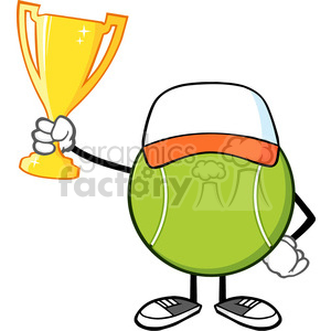 tennis ball faceless cartoon mascot character with hat holding a trophy cup vector illustration isolated on white background
