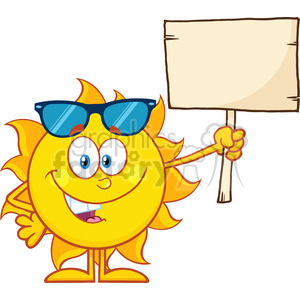 10145 summer sun cartoon mascot character with sunglasses holding a wooden blank sign vector illustration isolated on white background clipart. Royalty-free image # 400020