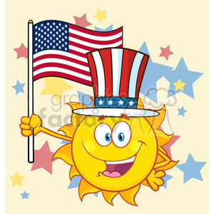 cute sun cartoon mascot character with patriotic hat holding an american flag vector illustration background with stars clipart. Royalty-free image # 400040