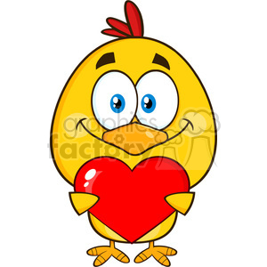cute yellow chick cartoon character holding valentine love heart vector illustration isolated on white clipart. Commercial use image # 400050