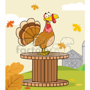 happy turkey bird cartoon character on a giant spool in a barnyard vector illustration with background clipart. Royalty-free image # 400080