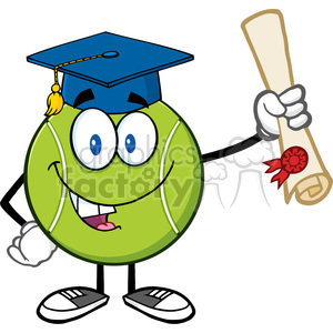 happy tennis ball cartoon mascot character with graduate cap holding a diploma vector illustration isolated on white clipart. Commercial use image # 400100