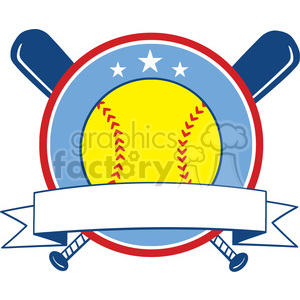 9611 yellow softball over crossed bats logo design label vector illustration isolated on white background