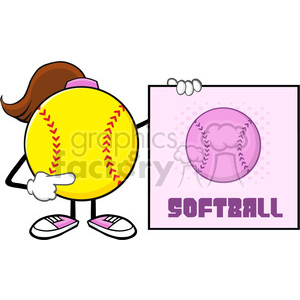 softball girl faceless cartoon mascot character pointing to a sign with text softball vector illustration isolated on white background clipart. Royalty-free image # 400130