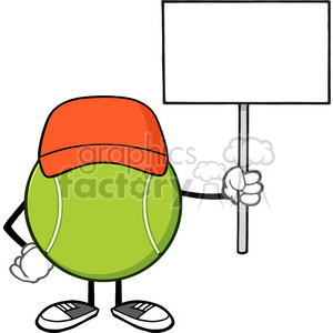 tennis ball faceless cartoon mascot character with hat holding a blank sign vector illustration isolated on white background clipart. Royalty-free image # 400160