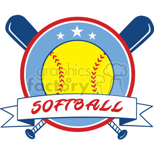 9612 yellow softball over crossed bats logo design label vector illustration isolated on white background with text clipart. Royalty-free image # 400170
