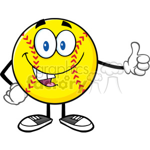 smiling softball cartoon mascot character giving a thumb up vector illustration isolated on white background clipart. Royalty-free image # 400180