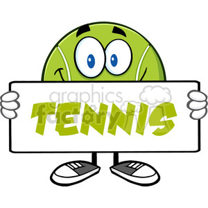 tennis ball cartoon mascot character holding a blank sign vector illustration with text tennis isolated on white clipart. Royalty-free image # 400190